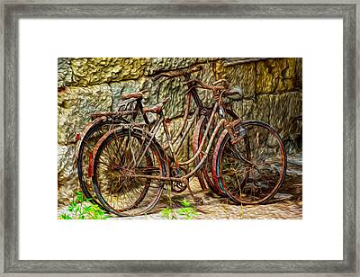 Painted Bikes Framed Print