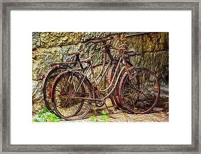 Painted Bikes Framed Print by Debra and Dave Vanderlaan