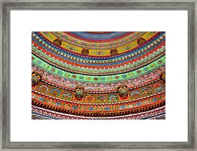Painted Ceiling Of Shree Laxmi Narihan Framed Print by Inger Hogstrom