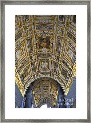Painted Ceiling Of Staircase In Doges Palace Framed Print by Sami Sarkis