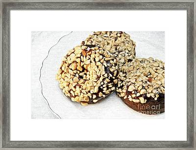 Painted Chocolate Fudge Nut Donuts Framed Print by Andee Design