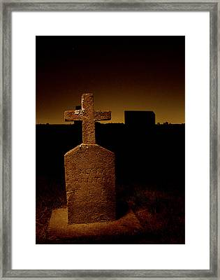 Painted Cross In Graveyard Framed Print by Jean Noren