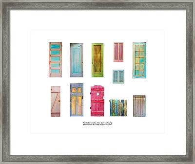 Painted Doors And Window Panes Framed Print
