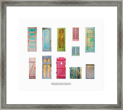 Painted Doors And Window Panes Framed Print by Asha Carolyn Young and Daniel Furon