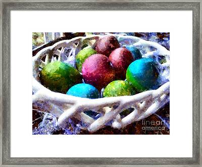 Painted Easter Eggs In A Basket Framed Print by Janine Riley