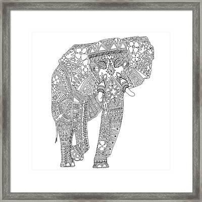 Painted Elephant Black White Framed Print