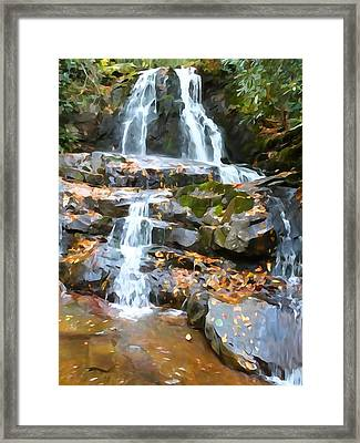Painted Falls In The Smokies Framed Print by Dan Sproul