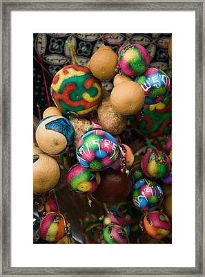 Painted Gourds For Sale In A Street Framed Print by Panoramic Images