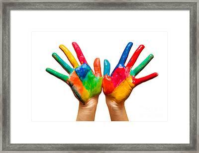 Painted Hands On White Framed Print by Michal Bednarek