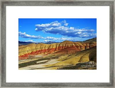 Painted Hills Blue Sky 3 Framed Print by Bob Christopher