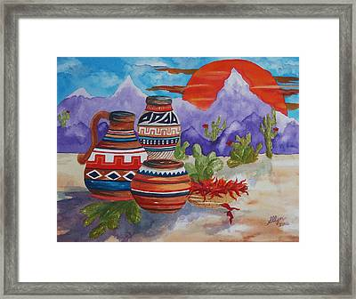 Painted Pots And Chili Peppers Framed Print by Ellen Levinson