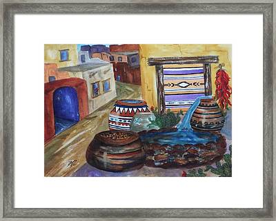 Painted Pots And Chili Peppers II  Framed Print by Ellen Levinson