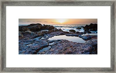 Painted Rocks At Golden Cove Framed Print