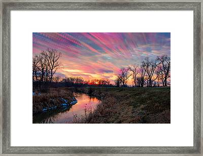 Painted Sky Of Pink And Blue Framed Print