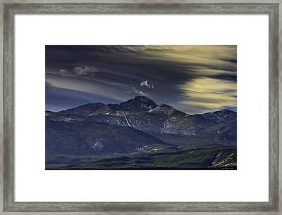 Painted Sky Over Longs Peak Framed Print by Tom Wilbert