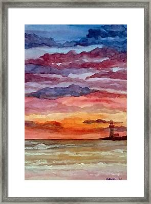 Painted Sky Over Ocean Framed Print
