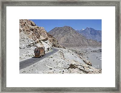 Painted Truck On The Karakorum Highway In Pakistan Framed Print by Robert Preston