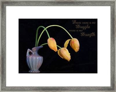 Painted Tulips With Message Framed Print