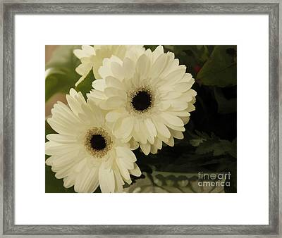 Framed Print featuring the photograph Painted White Flowers by Nancy Dempsey