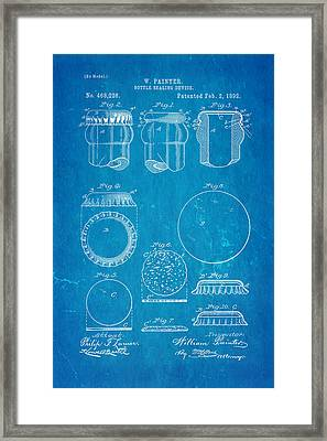 Painter Bottle Cap Patent Art 1892 Blueprint Framed Print by Ian Monk