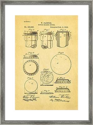 Painter Bottle Cap Patent Art 1892 Framed Print by Ian Monk