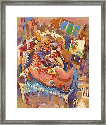 Painter In The Workshop Framed Print by Meruzhan Khachatryan