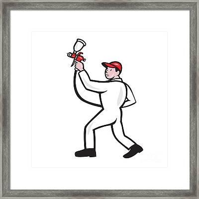 Painter Spray Paint Gun Side Cartoon Framed Print by Aloysius Patrimonio