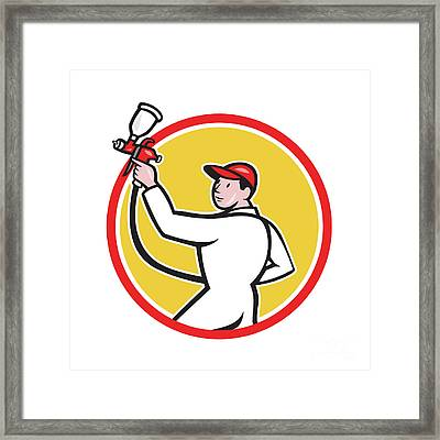 Painter Spray Paint Gun Side Circle Cartoon Framed Print by Aloysius Patrimonio