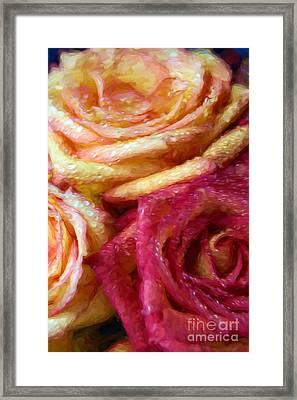 Painterly 3 Roses Framed Print
