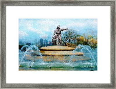 Painterly Firefighters Memorial Fountain  Framed Print