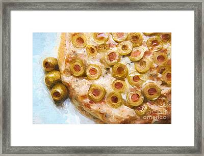 Painterly Green Olive Pizza Framed Print