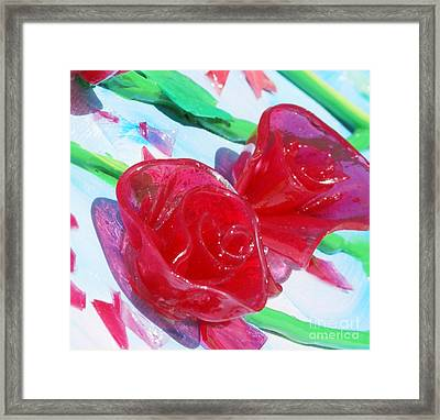 Painterly Stained Glass Looking Flowers Framed Print by Ruth Collis