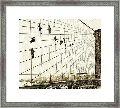 Painters On The Brooklyn Bridge 1914 Framed Print by Mountain Dreams