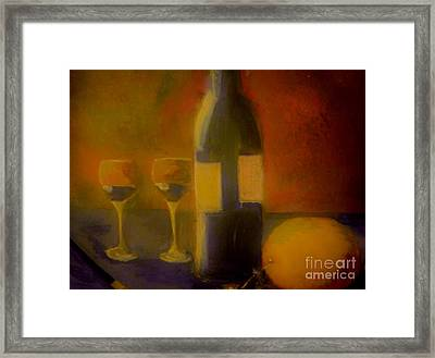 Framed Print featuring the painting Painting And Wine by Lisa Kaiser
