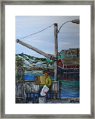 Painting At Peggy's Cove Framed Print by Donna Muller