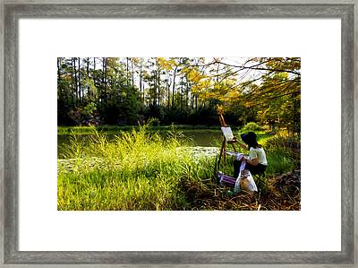 Painting At The Pond Framed Print