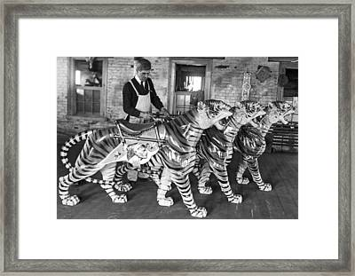 Painting Carousel Animals Framed Print