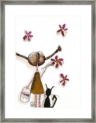 Painting Flowers Framed Print by Lucia Stewart