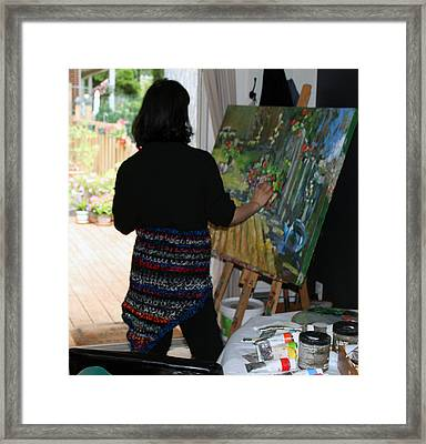 Painting My Backyard 1 Framed Print by Becky Kim