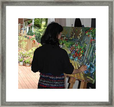 Painting My Backyard 2 Framed Print by Becky Kim