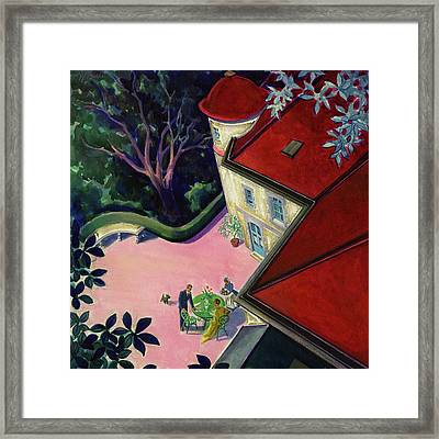 Painting Of A House With A Patio Framed Print by Walter Buehr
