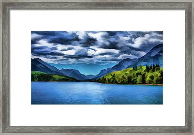 Painting Of A Lake And Mountains Framed Print by Ron Harris