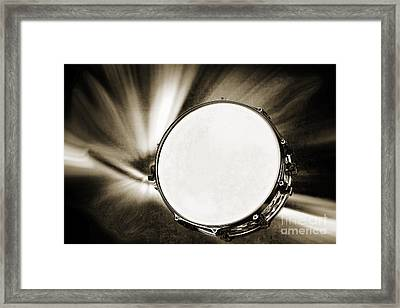 Painting Of A Snare Drum For Drum Set In Sepia 3246.01 Framed Print