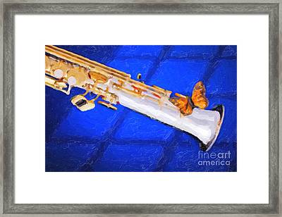 Painting Of A Soprano Saxophone And Butterfly 3352.02 Framed Print