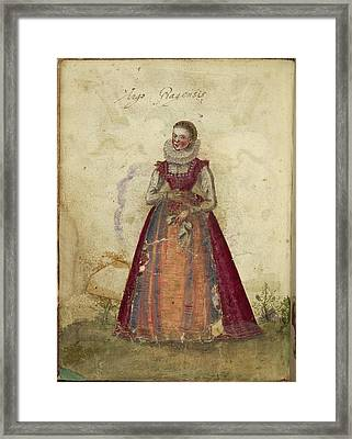 Painting Of A Woman Framed Print by British Library