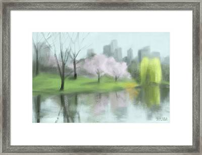 Painting Of Central Park In Spring Framed Print by Beverly Brown