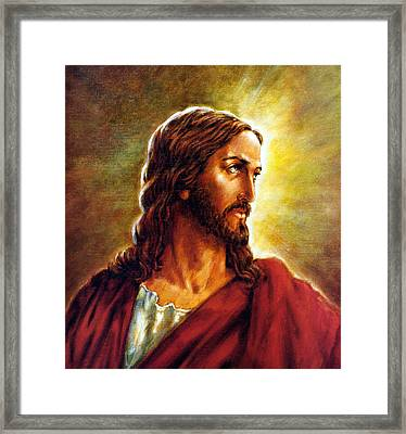 Painting Of Christ Framed Print by John Lautermilch