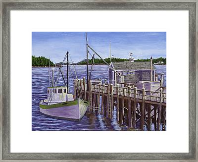Fishing Boat Docked In Boothbay Harbor Maine Framed Print