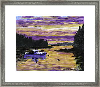 Lobster Boat In Port Clyde Maine At Sunset Framed Print by Keith Webber Jr