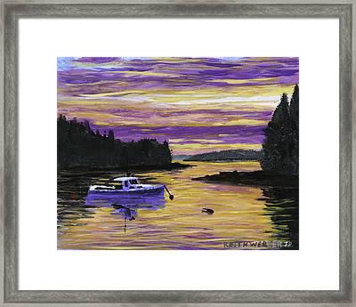 Lobster Boat In Port Clyde Maine At Sunset Framed Print